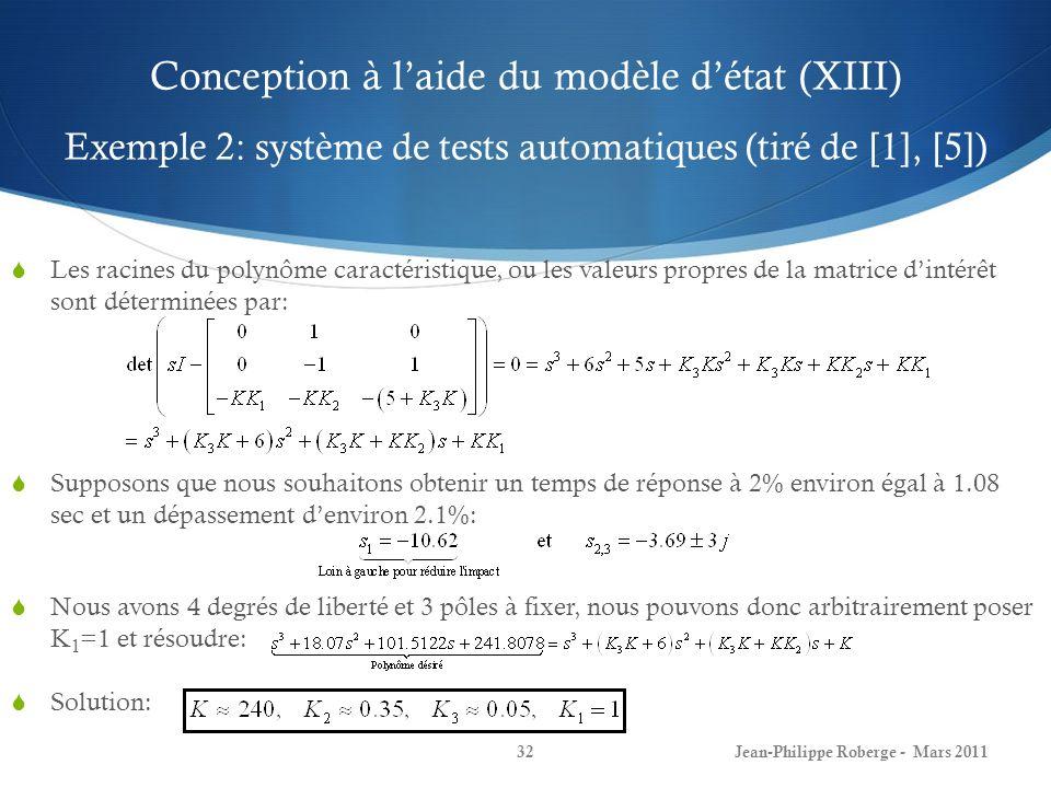 Conception à l'aide du modèle d'état (XIII) Exemple 2: système de tests automatiques (tiré de [1], [5])
